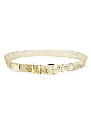 """Image of Add a flash of glamour to your outfit with this metal mesh belt. Goldtone Steel alloy Imported SIZE Width, about 1.25"""". Soft Accessorie - Belts > Saks Fifth Avenue. B-Low The Belt. Color: Gold. Size: Large."""