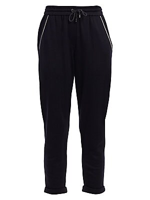 Image of A classic sportswear look, these cropped trousers are trimmed with monili beading and rich cotton and silk blend. Elasticized drawstring waistband Slip-on style Side slip pockets Monili trim Rolled cuffs Stretch silk lining Cotton/silk/polyamide Dry clean