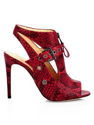 Alexandre Birman Women's Python-embossed Leather Peep-toe Booties In Red