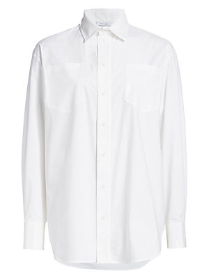 Image of Dynamic in its oversized silhouette, this crisp button-down is a versatile wardrobe basic. Ideal for creating various textures, this piece lends avant garde structures to any ensemble. Spread collar Long drop shoulder sleeves Buttoned barreled cuffs Butto