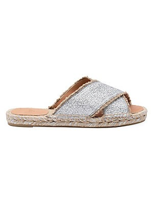 Image of The Palmera, with its criss cross front and metallic effect, it's the best and easiest summer shoe. Perfect to dress up or down, it's rendered in beautiful silver coated canvas. Coated linen upper Open toe Slip-on style Leather lining Yute/rubber sole Mad