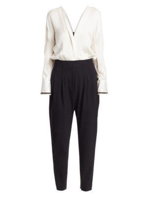 Brunello Cucinelli Suits Monili-Trimmed Silk Blouson Jumpsuit