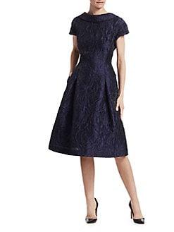 d2e5861272 Teri Jon by Rickie Freeman. Floral Jacquard Cap Sleeve A-Line Dress