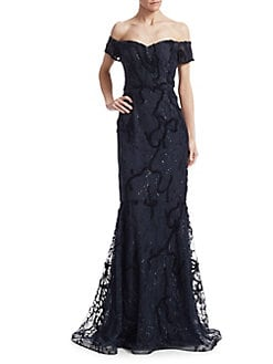 88aad34965ca1 Off-The-Shoulder Mermaid Gown NAVY · Product image