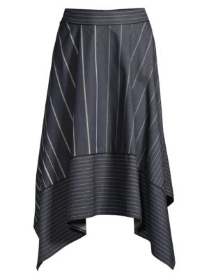 Donna Karan New York Striped Handkerchief Hem Denim Midi Skirt