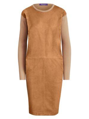 Ralph Lauren Collection Suede Front Crewneck Dress