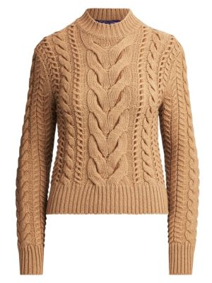 Ralph Lauren Collection Suede Lacing Cable Knit Sweater