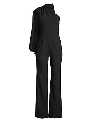 """Image of A dramatic caped shoulder adds playful movement to this tailored jumpsuit. Halterneck Sleeves Shoulder cape detail Polyamide/viscose/elastane Dry clean Made in USA SIZE & FIT Inseam, about 36"""" Model shown is 5'10"""" (177cm) wearing US size 4. Dress Collecti"""