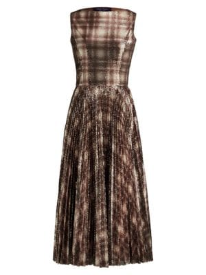 Ralph Lauren Dresses Arwen Embellished Plaid Cocktail Dress
