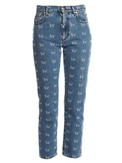 d5aeb28e62c Product image. QUICK VIEW. MSGM. Logo Cotton Crop Straight-Leg Jeans