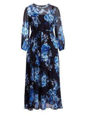 Marina Rinaldi Plus Size Elegante Floral Print Maxi Chiffon A Line Dress