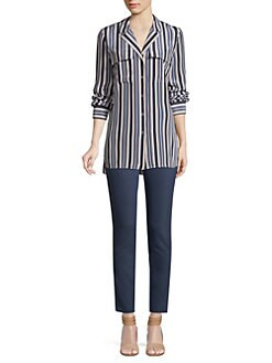 314671dd7078fc Maximina Palm Desert Striped Shirt DUNGAREE BLUE · Product image. Lafayette  148 New York