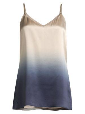 Lafayette 148 Eva Silk Gradient Camisole Top In Delft Multi
