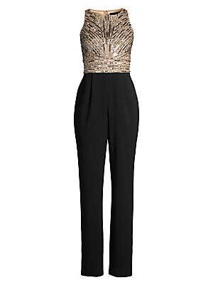 """Image of A combination of glamour and elegance, this jumpsuit flaunts a sequined bodice and a solid straight-leg bottom. Roundneck Sleeveless Concealed back zip Banded waist Side slash pockets Fully lined Polyester Spot clean Imported SIZE & FIT Rise, about 10"""" In"""