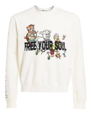 Mcq Alexander Mcqueen Free Your Soul Embroidered Graphic Sweater