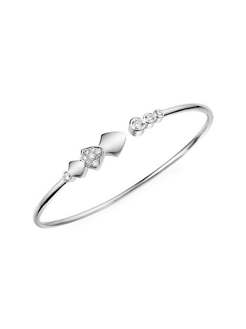 Python 18K White Gold & Diamond Flexible Bangle Bracelet