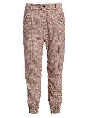 Derek Lam 10 Crosby Checked Jogging Pant In Orange Multi