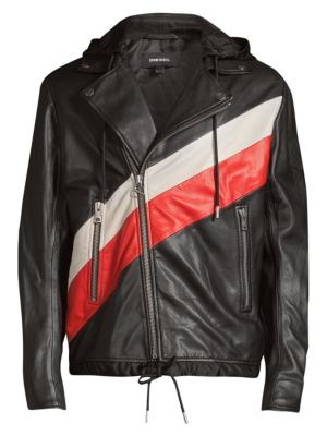 Diesel Solove Colorblock Leather Jacket