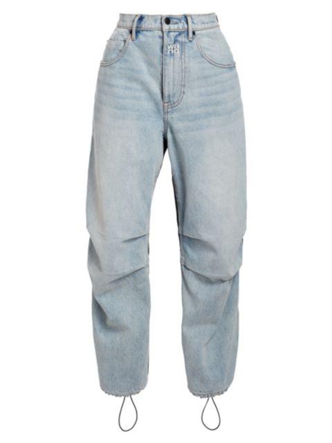 Alexanderwang.t High-Rise Mixed-Media Nylon Denim Pants | SaksFifthAvenue