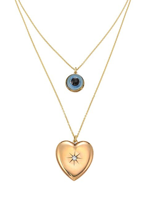 18K Yellow Gold, Vintage Glass & Diamond Heart Locket 2-Tier Necklace