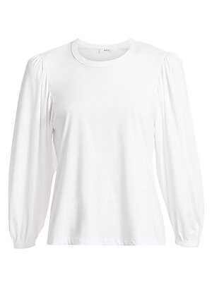 """Image of Voluminous puff sleeves elevate this staple cotton tee. Crewneck Short puff sleeves Slip-on styling Cotton Machine wash Made in USA SIZE & FIT About 24"""" from shoulder to hem Model shown is 5'10"""" (177cm) wearing US size Small. Contemporary Sp - Workshop >"""