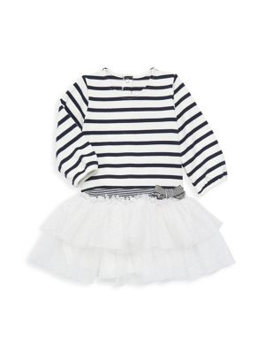 Navy//White-6 Months Baby Petit Bateau Striped Dress with Bow
