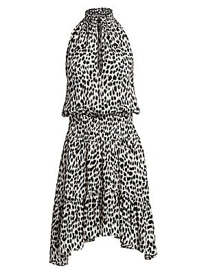 """Image of A lovely handkerchief hem lends flair to this bold leopard print dress. Smocked collar Halterneck Sleeveless Keyhole button front Smocked waist Handkerchief hem Silk Dry clean Imported SIZE & FIT A-line handkerchief silhouette About 44.5"""" from shoulder to"""