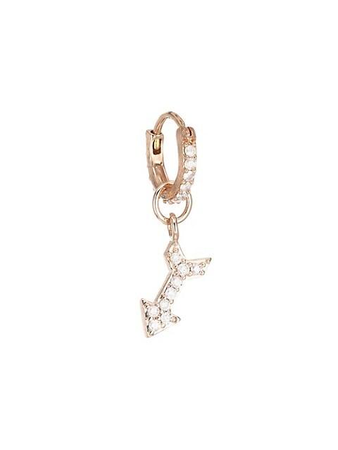 18K Rose Gold Petite Arrow Diamond Drop Single Earring Charm