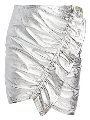 "Image of 80s inspired metallic mini skirt with a show-stopping diagonal ruffle. Ruffled trim Polyester lining Leather Clean by leather specialist Imported SIZE & FIT About 17"" long Model shown is 5'10"" (177cm) wearing US size 4. Contemporary Sp - Workshop > Saks F"