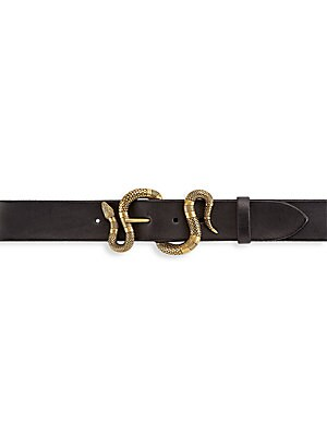 Snake Buckle Leather Belt by Gucci