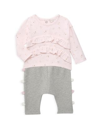 Miniclasix Baby Girl S Two Piece Pom Pom Top Pants Set