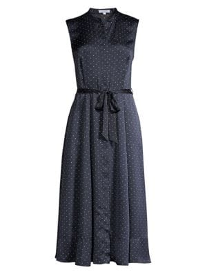 Equipment Dresses Clevete Sleeveless Polka Dot Tie Waist A-Line Shirtdress