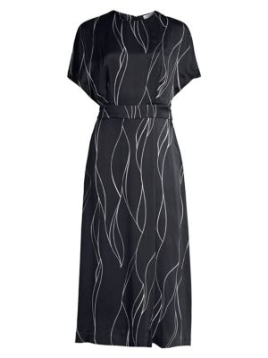 Equipment 'chemelle' Belted Abstract Line Print Satin Dress In Eclipse/bright White