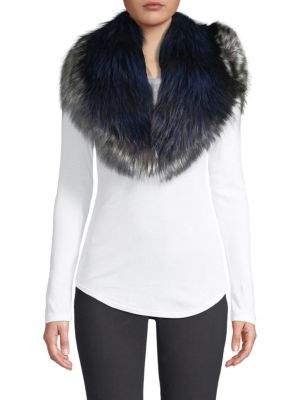 Pologeorgis Bi Color Fox Fur Collar