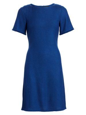 St John Gridded Texture Knit Dress
