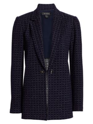 St John Graphic Boucle Knit Windowpane Jacket