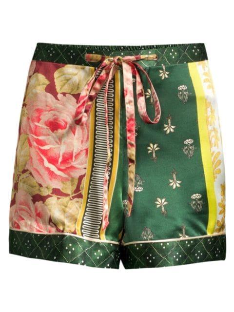 Oscar de la Renta Sleepwear Spruce Floral Patchwork Silk Shorts | SaksFifthAvenue