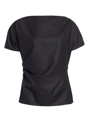 Dries Van Noten Shorts Short-Sleeve Wool Pinstripe Top