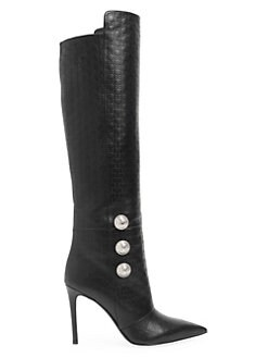 ae462466ef9 QUICK VIEW. Balmain. Monogram-Embossed Leather Knee-High Boots