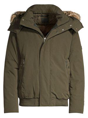 Adelphi Coyote Fur Trim Down Bomber Jacket