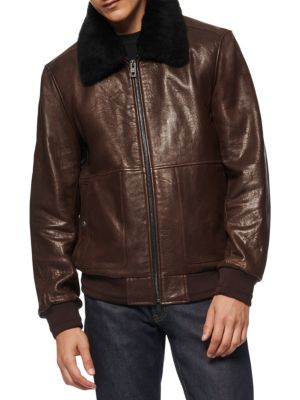 Cuthbert Shearling Trimmed Leather Jacket