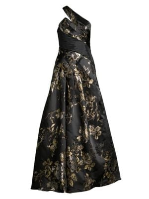 Basix Black Label Floral Jacquard One Shoulder A Line Gown