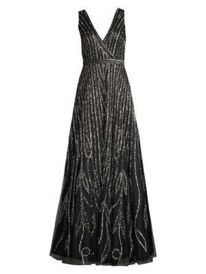 Basix Black Label Sequined Stripe V Neck Gown