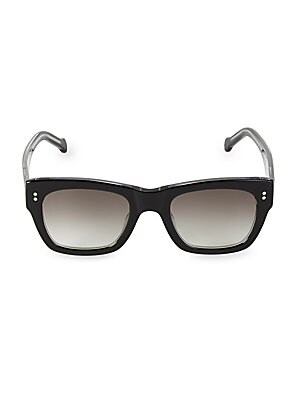 Image of Retro-inspired rectangular style with soft gradient lenses. 100% UV protection Cloth and case included Metal/acetate Imported SIZE 51mm lens width 22mm bridge width 145mm temple length. Soft Accessorie - Sunglasses > Saks Fifth Avenue. Colors in Optics. C