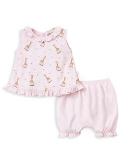 916f9b245 Kissy Kissy. Baby Girl's Two-Piece Sophie Giraffe Print Set