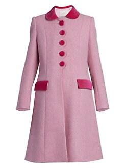 30bf10c03084 Marc Jacobs. The Sunday Best Velvet-Trim Wool Coat