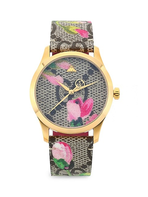 G-Timeless Pink Blooms Gold PVD & GG Supreme Canvas Strap Watch