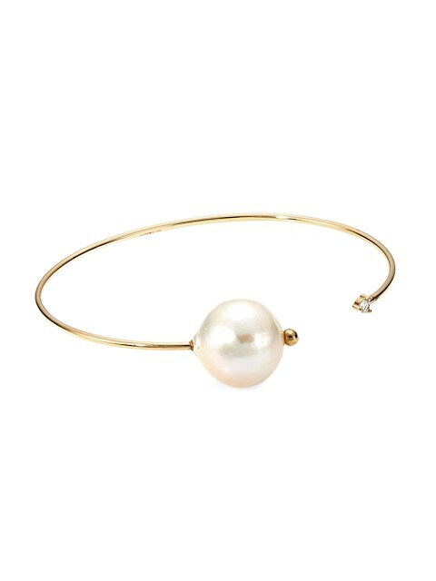 Large 14K Yellow Gold, 15MM Freshwater Pearl & Diamond Open Cuff Bracelet