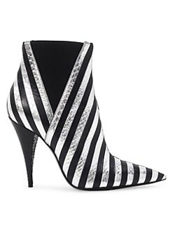 e778fad9f Saint Laurent. Kiki Striped Leather Booties