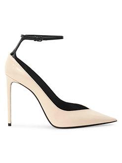 2fd8ac3f6a08 Saint Laurent. Zoe Ankle Strap Leather Pumps
